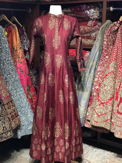 Maroon Raw Silk Gold Foil Anarkali Kurti D120