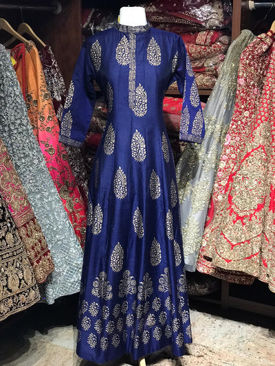 Navy Blue Raw Silk Gold Foil Anarkali Kurti D123