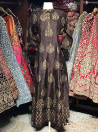 Brown Raw Silk Gold Foil Anarkali Kurti D122