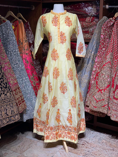 Yellow Raw Silk Block Print Anarkali Kurti D115