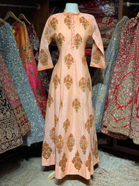 Peach Raw Silk Block Print Anarkali Kurti D114