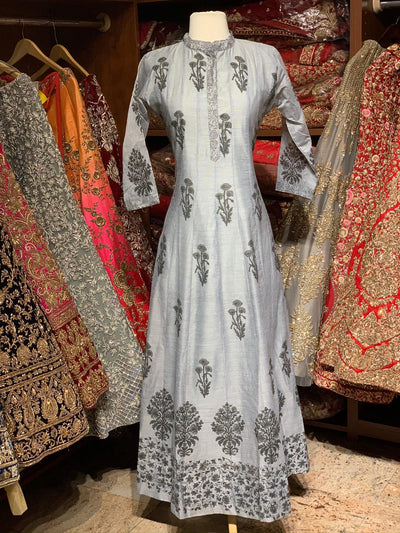 Grey Raw Silk Block Print Anarkali Kurti D128