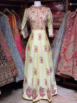 Yellow Raw Silk Block Print Anarkali Kurti D117