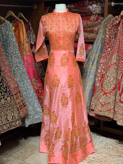 Coral Raw Silk Block Print Anarkali Kurti D127