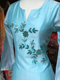 Cotton Chanderi Kurti W/Thread Work D127