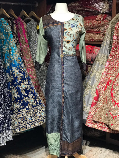 Straight Long Mix Print Kurti D96