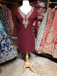 Georgette Stone Neck Work Kurti D6