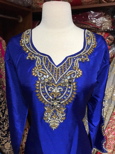 Raw Silk Kurti W/Stone Work Sleeves D2A