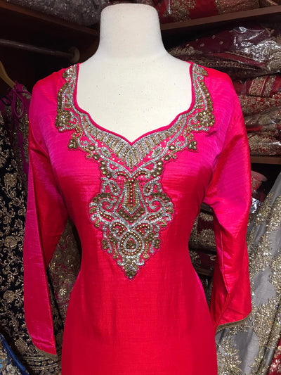 Raw Silk Stone Neck Work Kurti D1A