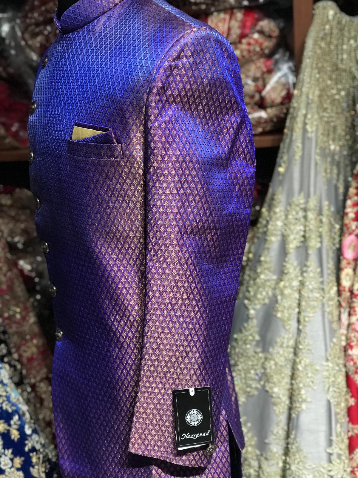Purple Asymmetric Brocade Sherwani