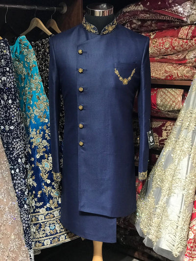 Navy Blue Asymmetric Sherwani