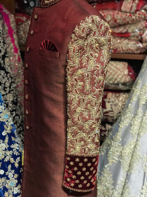 Maroon Sherwani W/Embroidered Sleeves