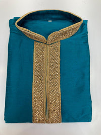 Raw Silk Kurta With Neck Embroidery KP71
