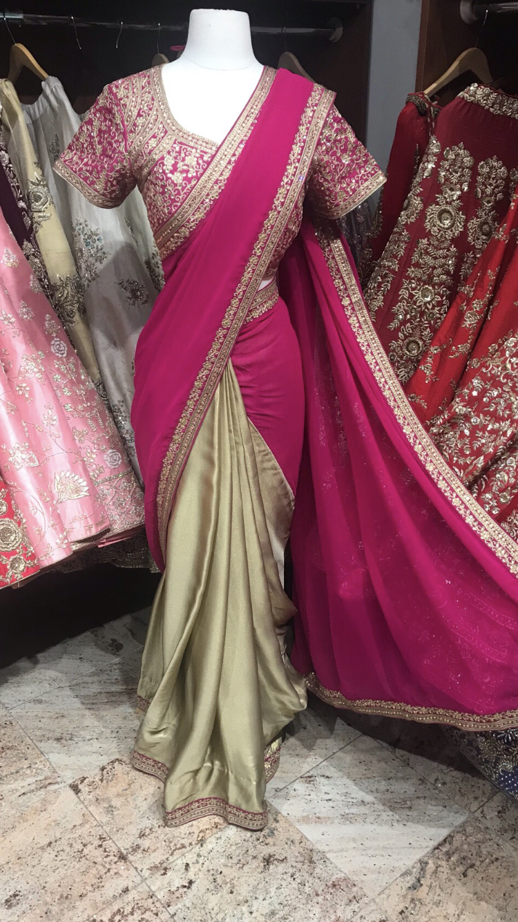 Bright Pink Bridesmaid's Saree