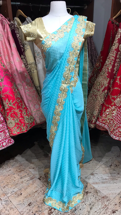 Light Blue Bridesmaid's Saree