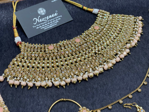 Antique Gold Bridal Choker Set with Blush Pearls and Blush Accents, Indian Bridal Jewelry