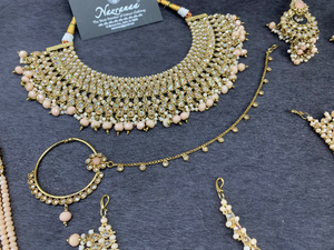 Antique Gold Bridal Choker Set with peach Pearls and peach Accents, Indian Bridal Jewelry,