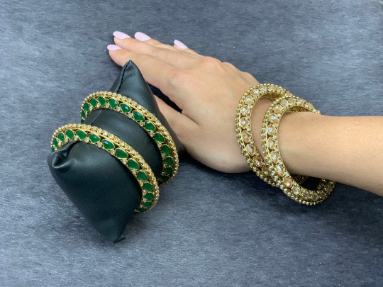 Antique gold bangle/kadas  (set of 2),Indian Traditional Bangles with polki stones, Bridal bangles