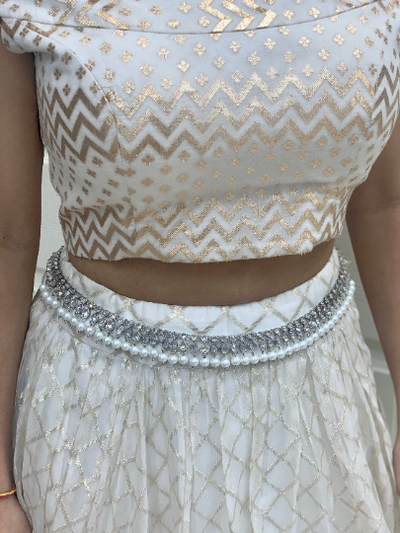 Silver waistbelt with pearl accents, Indian/Pakistani wedding bellychain with adjustable length,Silver stone waistchain,Bridal accessories