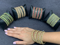 Antique gold bangle/kadas  (set of 4),Indian Traditional Bangles with polki stones, Bridal bangles