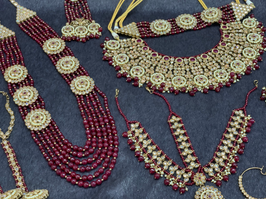 Antique Gold Bridal Choker Set with Maroon Pearls and Maroon Accents, Indian Bridal Jewelry.