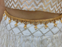 Gold waistbelt with polki stones and pearl accents ,Indian Southindian waistchain,Indian jewellery