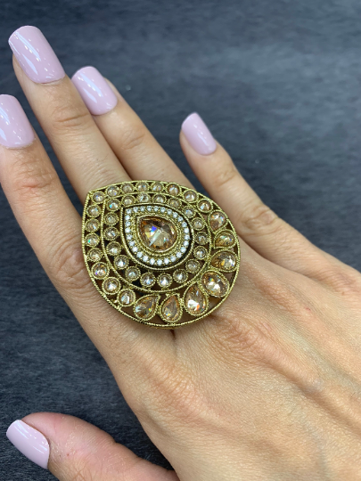 Adjustable Antique gold statement rings with pearl accents, Wedding bridal rings, Indian traditional oversized rings, Tear drop shape ring