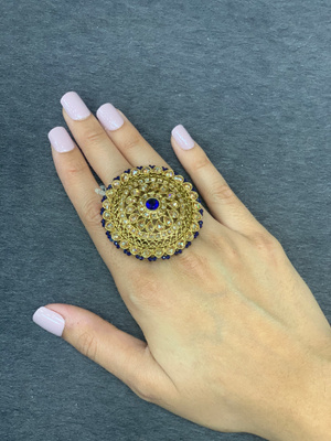 Adjustbale Antique gold statement rings with pearl accents, Wedding bridal rings, Indian traditional oversized rings Round  shape ring