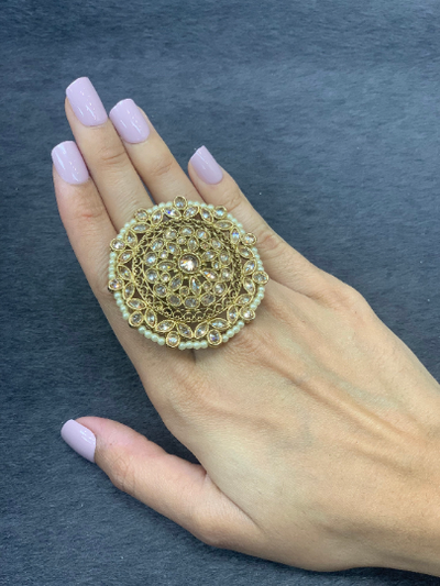 Adjustable Antique gold statement rings with pearl accents, Wedding bridal rings, Indian traditional oversized rings, round shape ring