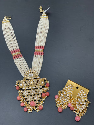 Kundan Necklace Set In Pearl Mala W/Earrings NS1