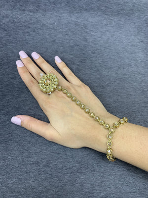 Gold Indian hand jewelry (set of 2) Wedding bridal accessories, Adjustable ring & bracelet,Traditonal hathphool/hand panja