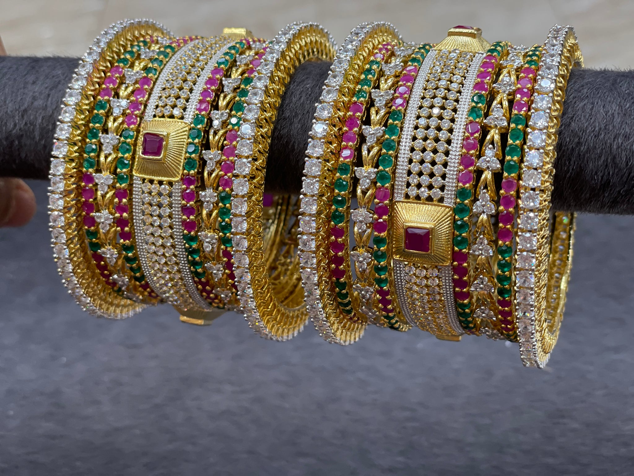 Cubic Zirconia Bangle Set with Emerald and Ruby Stones,  Size 2.6