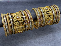 Traditional Bangle Set with Kundan and Ruby Accents W/ Adjustable Kada, Size 2.6