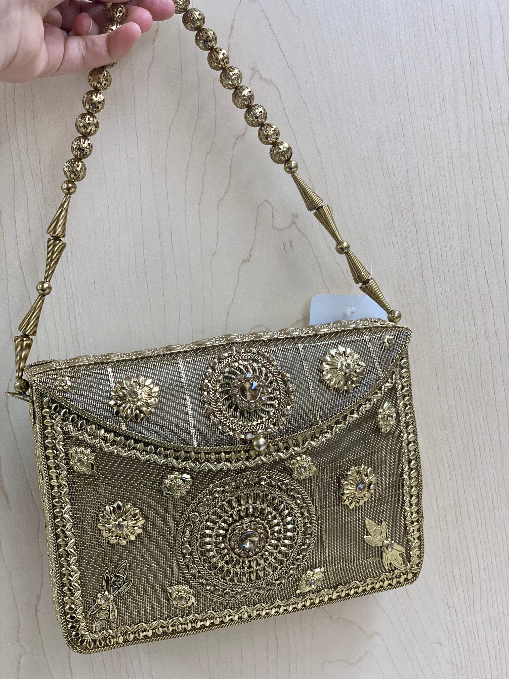 Antique Golden Metal Purse D7