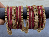 Indian Rose Gold Cubic Zirconia Bangle Set W/ Droppings
