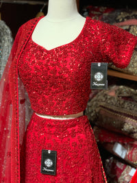 Red Size 38 Tonal Sequin Lehenga