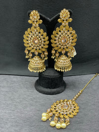 Antique Gold Earrings w/ Jhumkis & Maangtikka in Pearl Accents