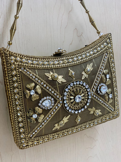 Antique Golden Metal Purse D1