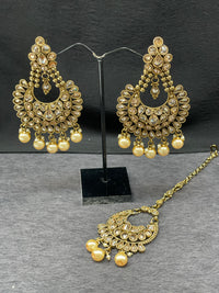 Antique Gold Chand Bali Earrings w/ Maangtikka in Pearl Accent