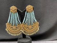 Chand Bali earring with pastel blue beads
