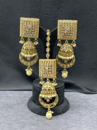Antique Gold Square/Chand Bali Earrings & Maangtikka w/ Pearl Accent