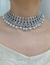 Silver Pearl Round Necklace Set W/Earrings & Mang Tikka NS10