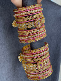 Traditional Gold Custom Bangles Set with Dropings