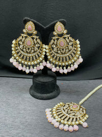 Antique Gold Stone Earring w/ Maangtikka in Light Pink Beads & Pearl Accent