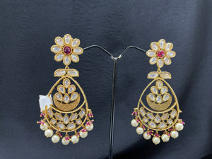 Antique Gold Earrings w/ Ruby & Pearl Accents