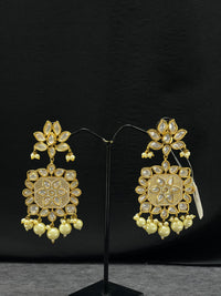 Kundan long earrings with Minakari work