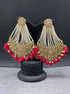 Antique Gold Red Beads Earrings w/ Pearl accents