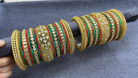Traditional Gold Bangle Set with Kundan Kadas, ,Size 2.6