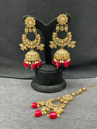Antique Gold Kundan Earring w/ Maangtikka in Red Beads & Pearl Accent