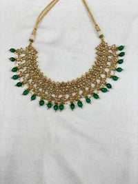 Antique necklace set in green/red accents